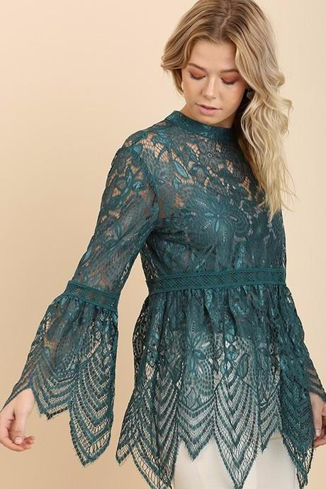 Deep Teal Mandarin Collar Lace Empire Top