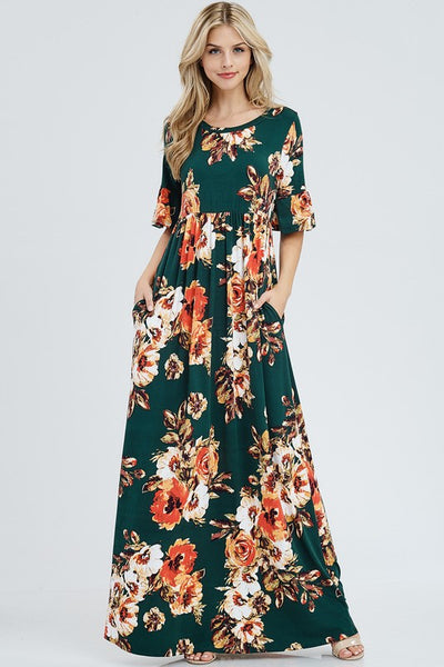 'Macy' Hunter Green Floral Maxi