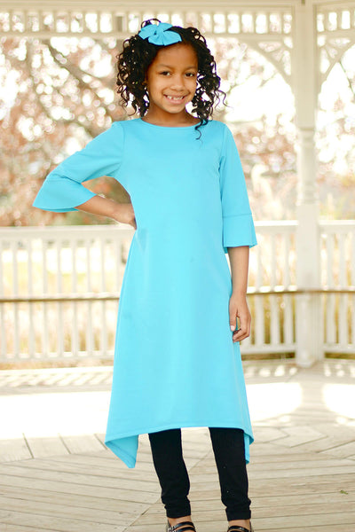 Girls 'Ashley' Dress-Turquoise