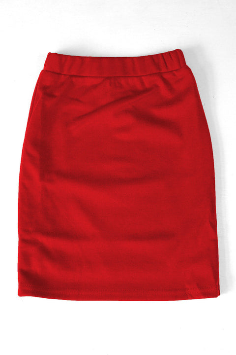 Girls Crimson Knit Skirt