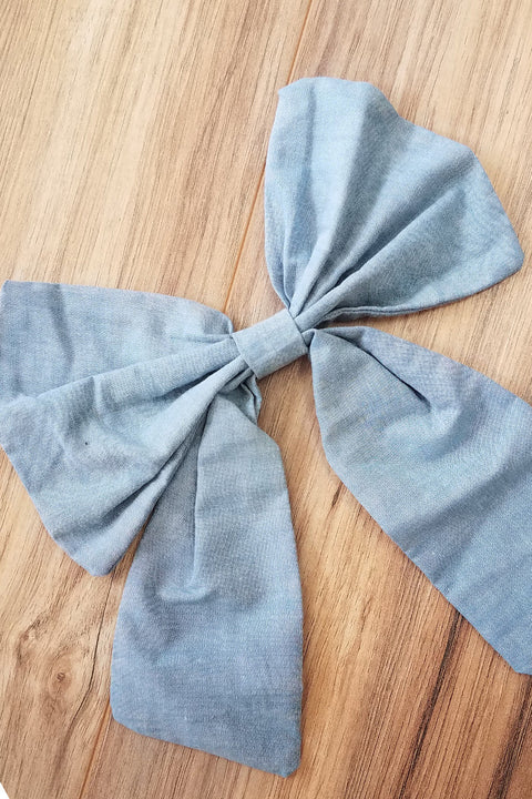 Chambray Denim Bow
