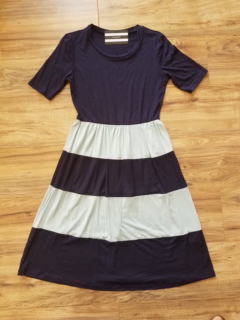 Navy & Sky Blue Stripe Dress