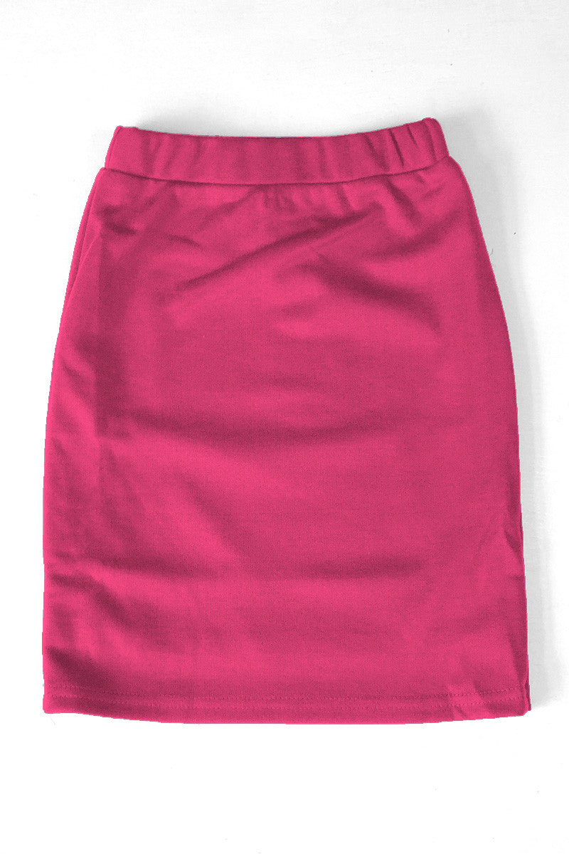 Girls Fuchsia Knit Skirt
