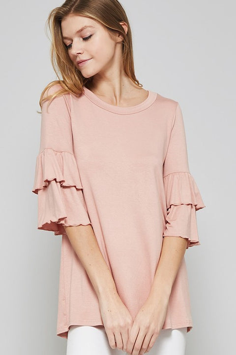 Dusty Pink Double Ruffle Sleeve Top