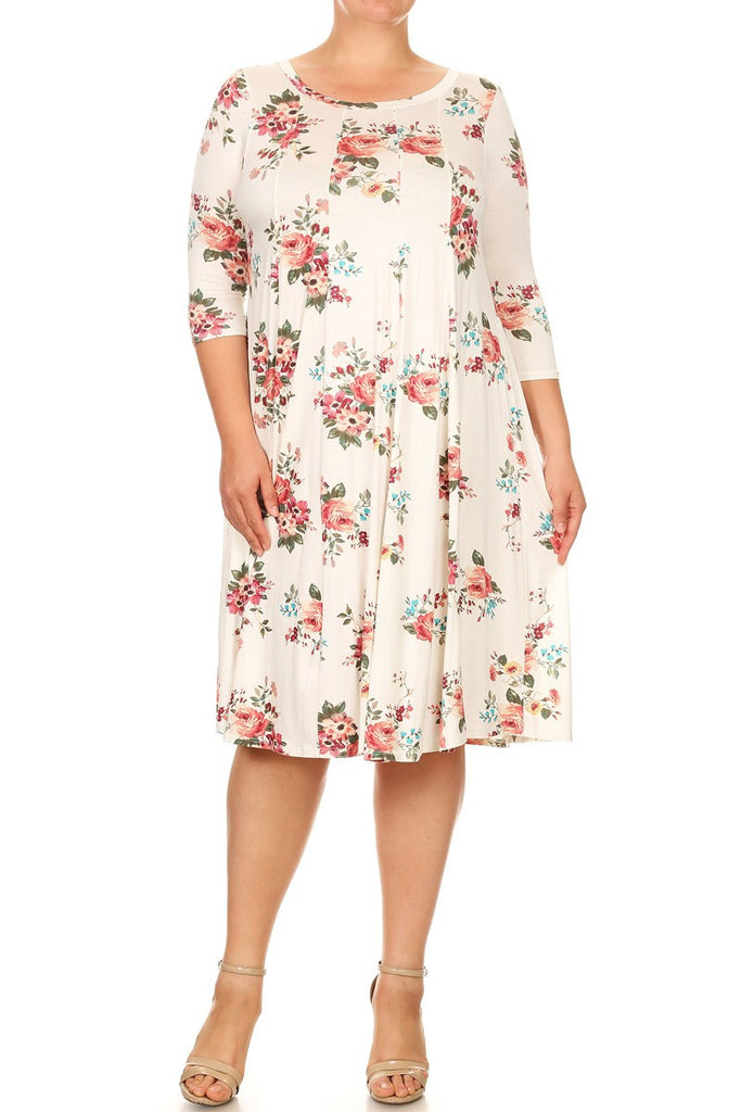 Ivory Floral Midi Dress (Plus Size)