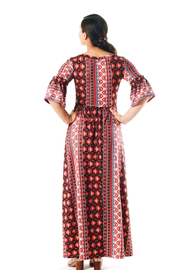 'Jizel' Paisley Ruffle Sleeve Dress