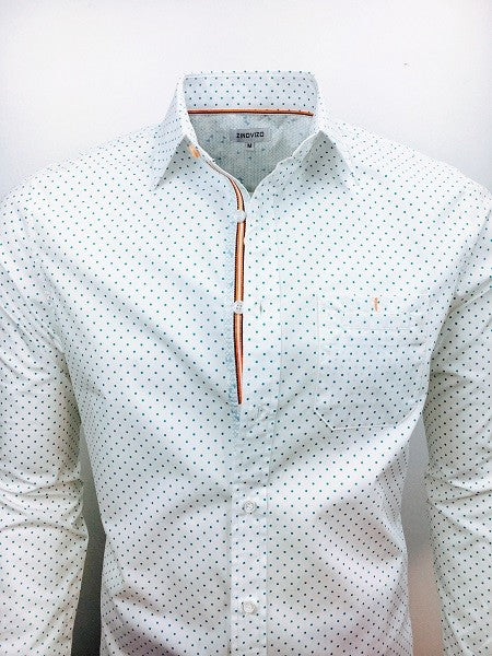 Emerald Polka Dot Men's Dress Shirt