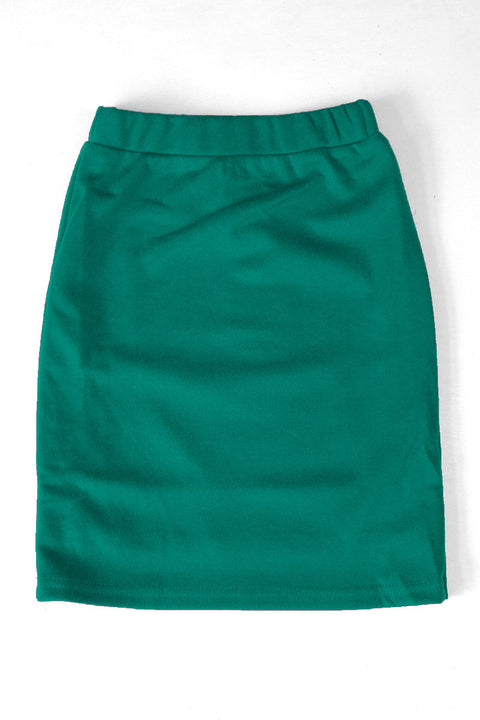 Girls Emerald Green Knit Skirt