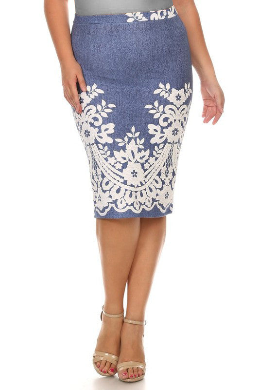 Denim Blue/Cream Knit Skirt