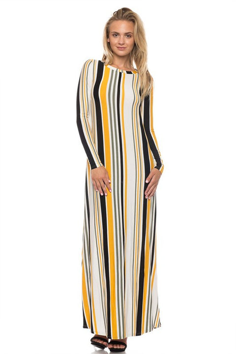 Black & Mustard Stripe Dress