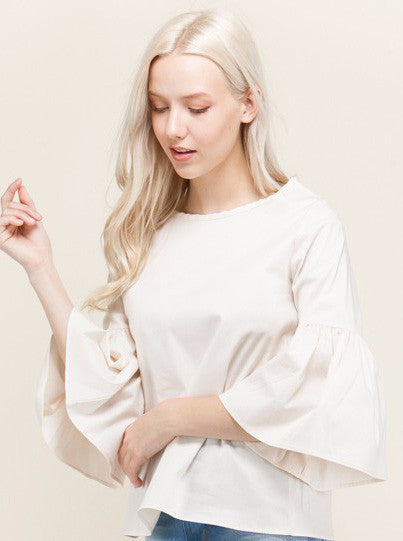 Cream Ruffle Bell Sleeve Top