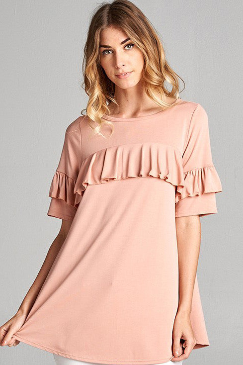 Blush Solid Ruffle Sleeve Top