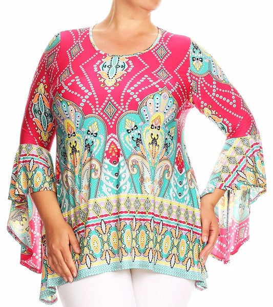 Hot Pink Paisley Bell Sleeve Tunic (Plus Size)