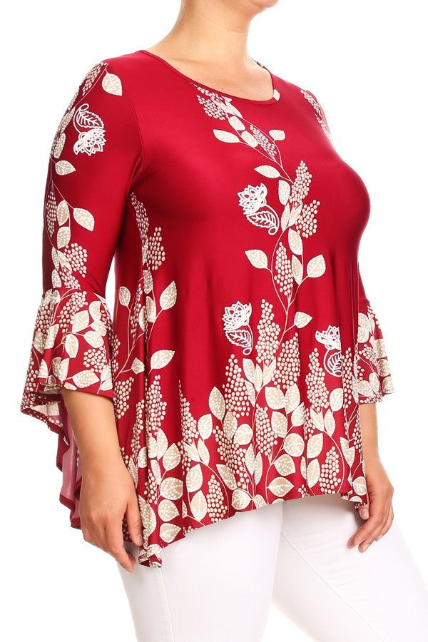 Red Floral Tunic (Plus Size)