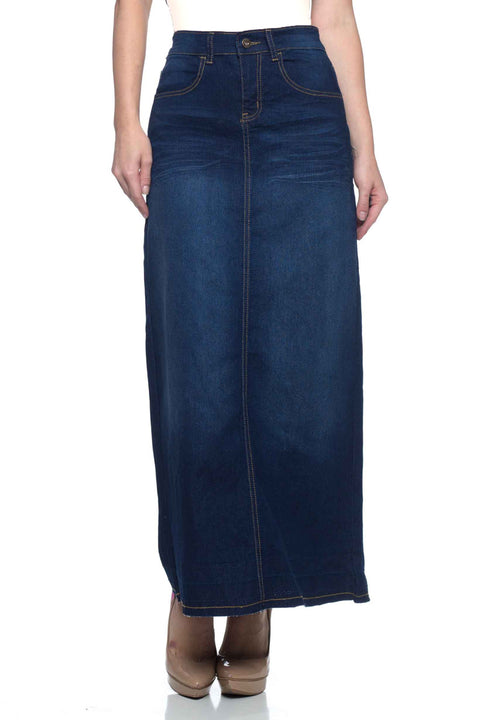 Long Dark Denim Skirt (Plus Size included)
