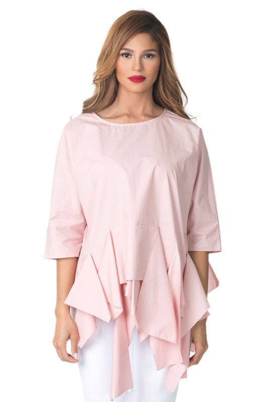 Blush Asymmetric Ruffle Bottom Top