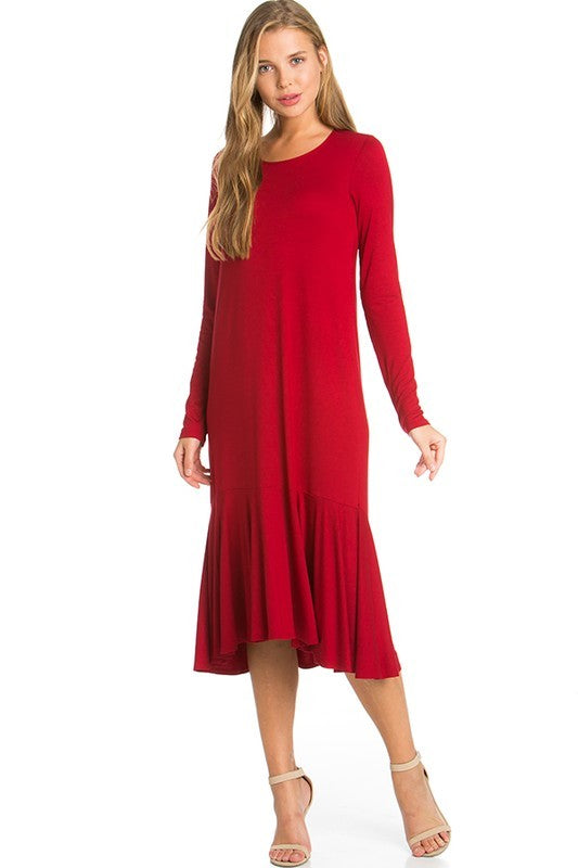 Red Long Sleeve Ruffle Dress