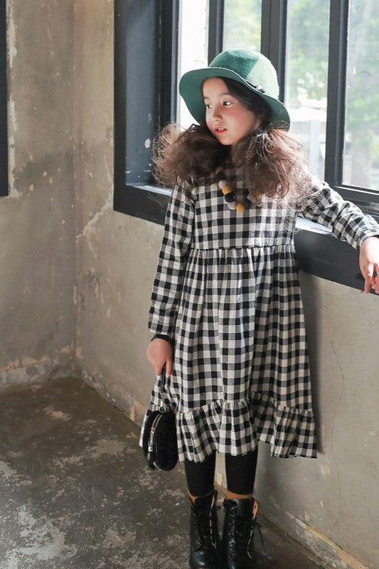 Girls Black/White Plaid Ruffle Hem Dress