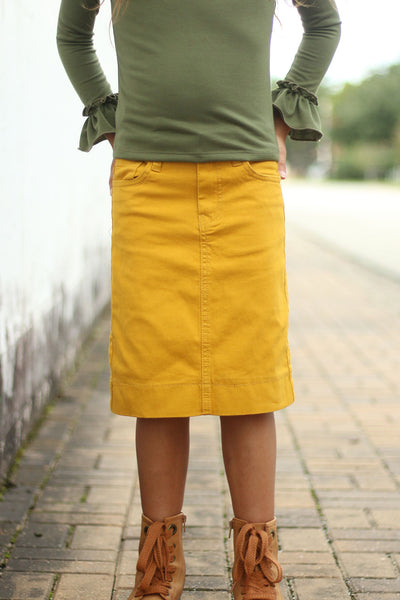 Girls Mustard Denim Skirt