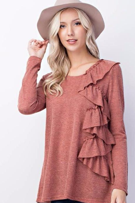 Mauve Front Ruffle Top