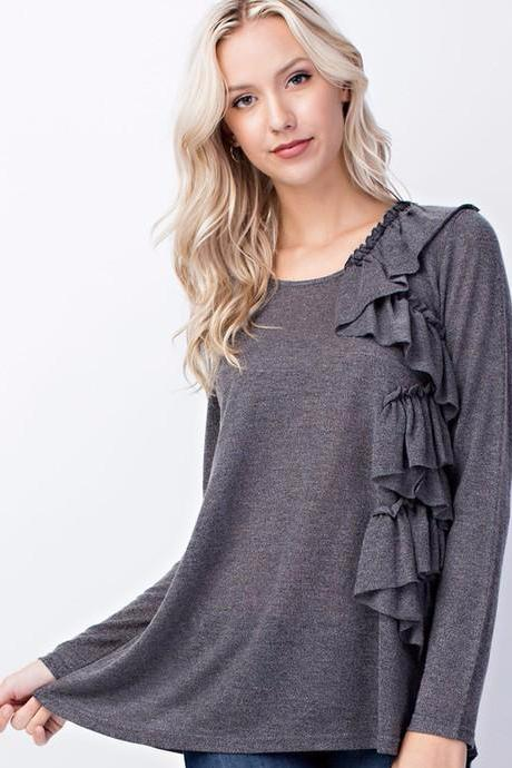 Charcoal Front Ruffle Top