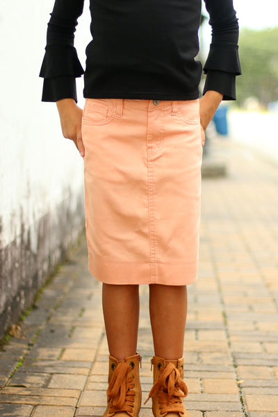 Girls Peach Denim Skirt