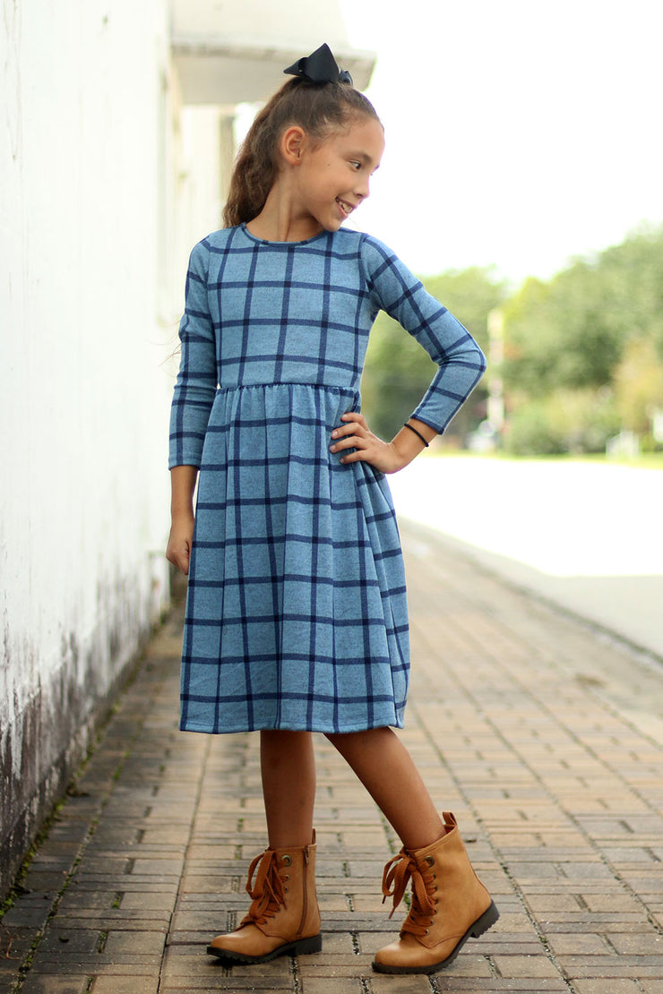 'Lily' Girls Blue Plaid Dress