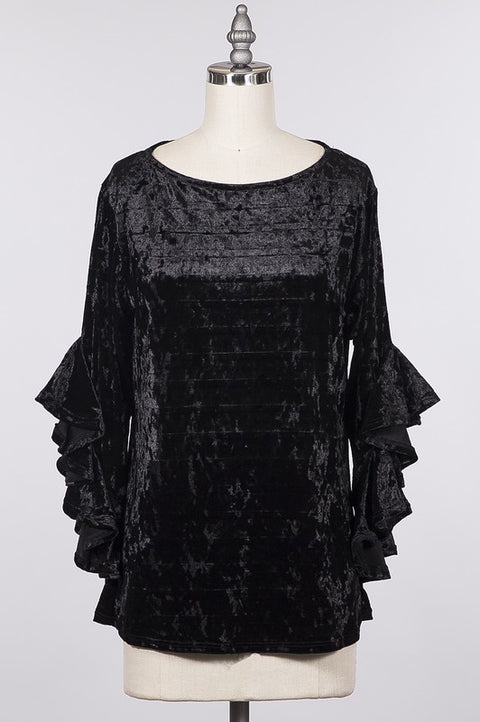 Black Velvet Boat Neck Tunic