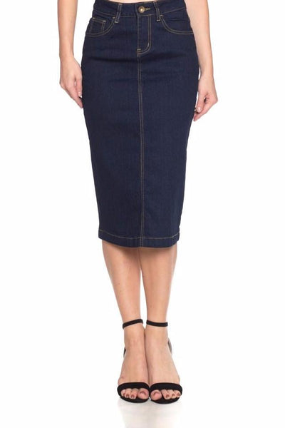 'Geneva' Dark Indigo BG Denim Skirt