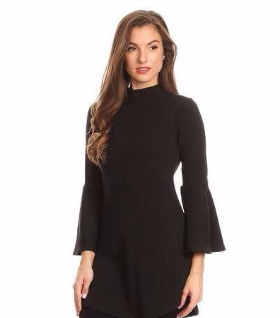 Black Mock Neck Bell Sleeve Tunic