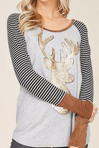 Grey/Black Sequin Reindeer Long Sleeve Tee