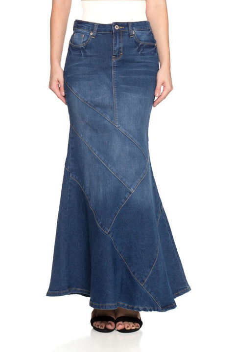 Long Paneled Denim Skirt (Plus Size included)
