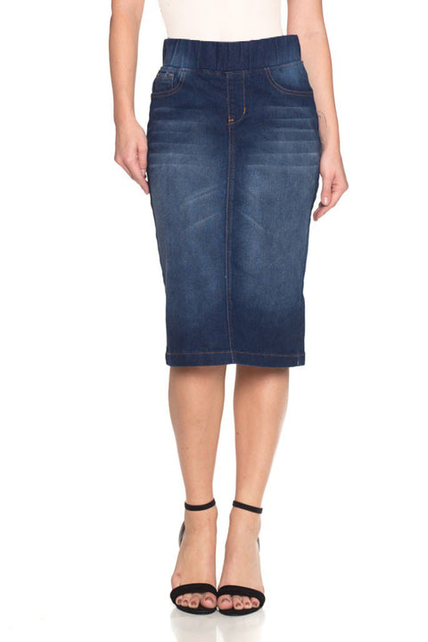 Dark Elastic Waist Denim Skirt (Plus Size included)