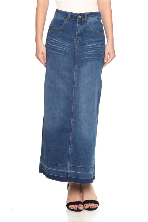 Long Distressed Dark Denim Skirt (Plus Size included)