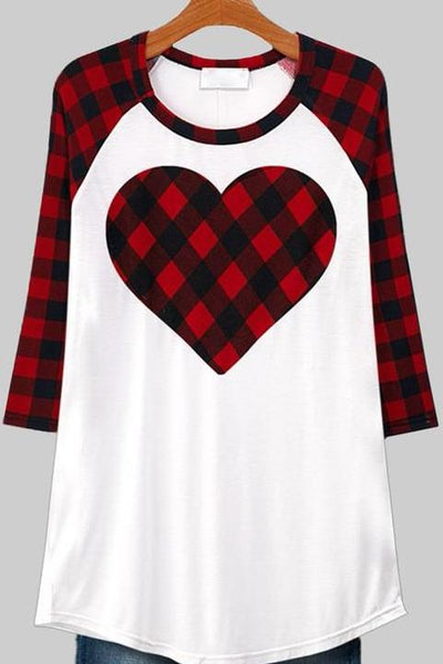 Black/Red Plaid Heart Top