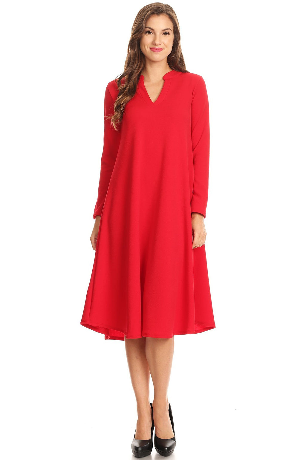 Red V-Neck Swing Dress