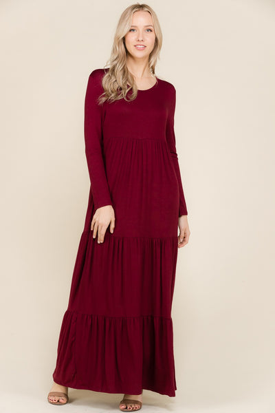 Burgundy Long Sleeve Tiered Maxi Dress