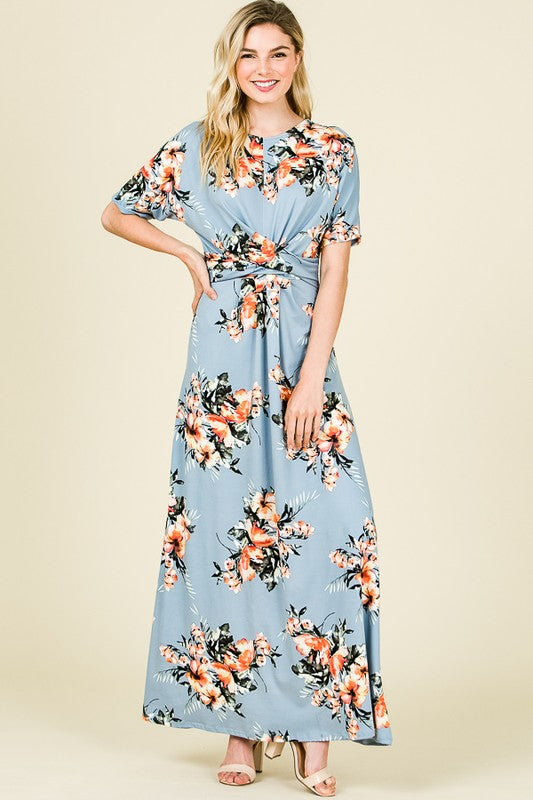 'Melanie' Blue Floral Maxi Dress