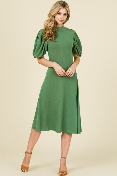'Maxine' Sage Green Puff Sleeve Dress