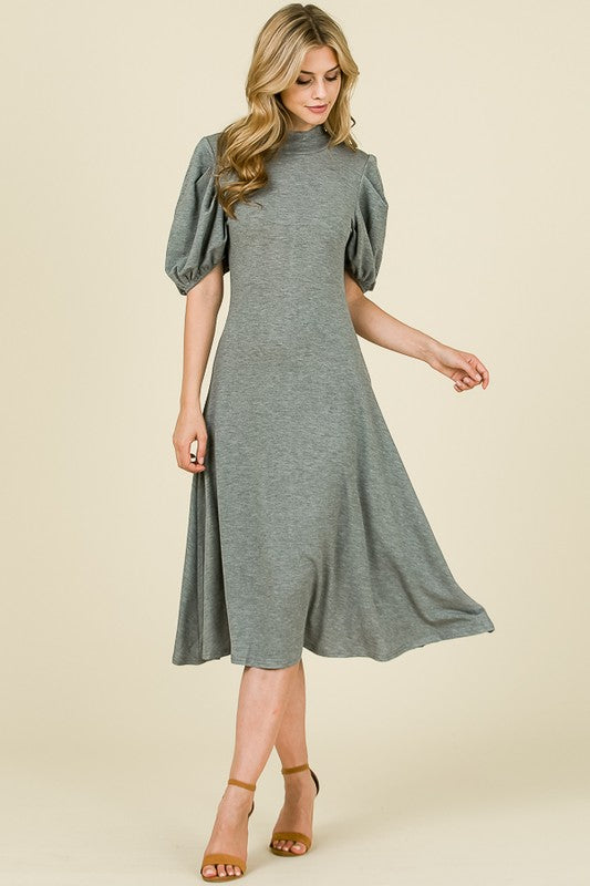 'Maxine' Gray Puff Sleeve Dress