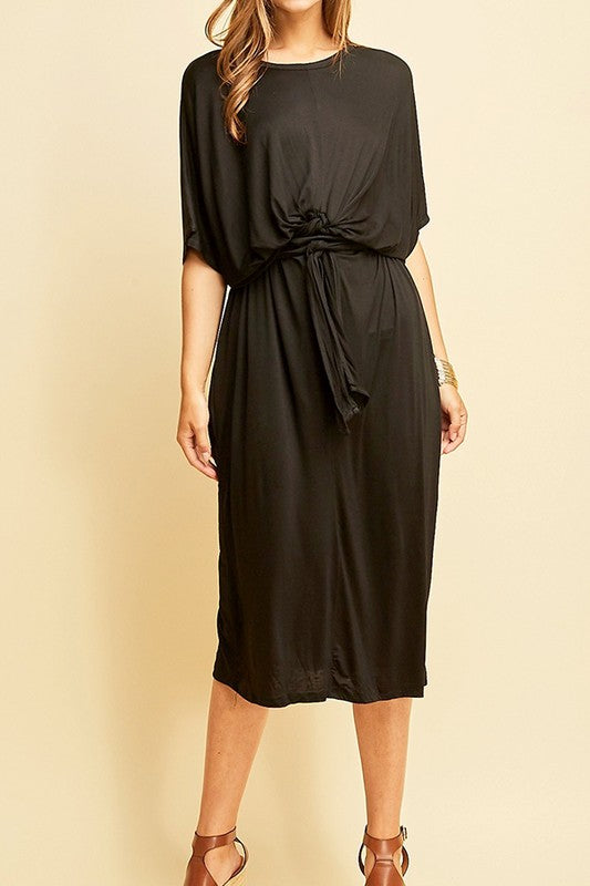 'Morgan' SOLID BAT WING SLEEVE ROUND-NECK SHIFT DRESS