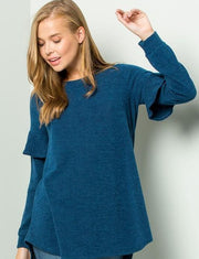 Ruffle sleeve sweater tunic (4 colors )