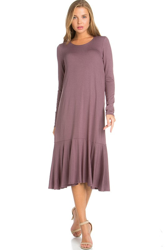 Mauve Long Sleeve Ruffle Dress