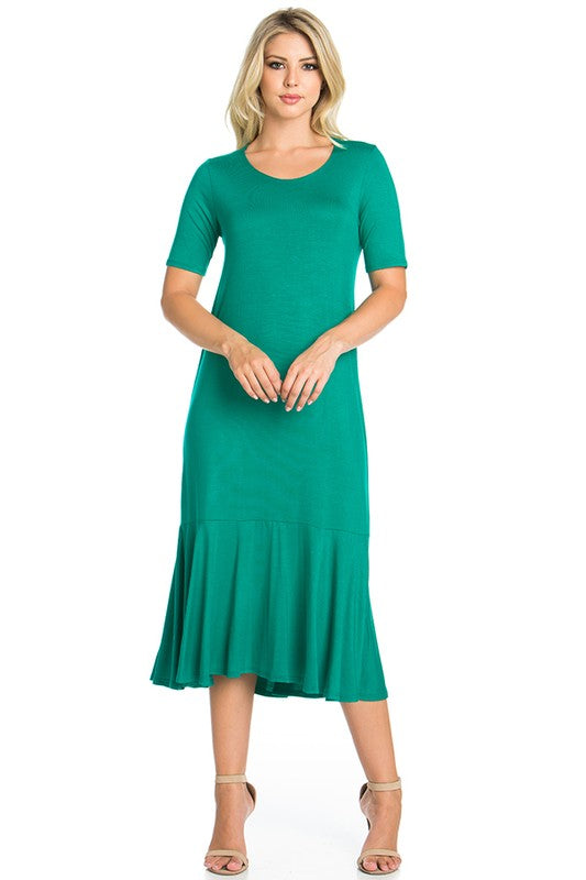 Emerald Green Short Sleeve Dress