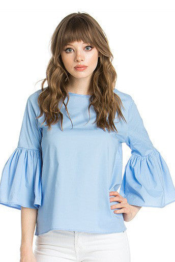 Baby Blue Ruffle Bell Sleeve Top