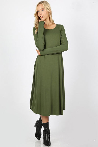 "'Monique"" Army Green Long Sleeve Dress"