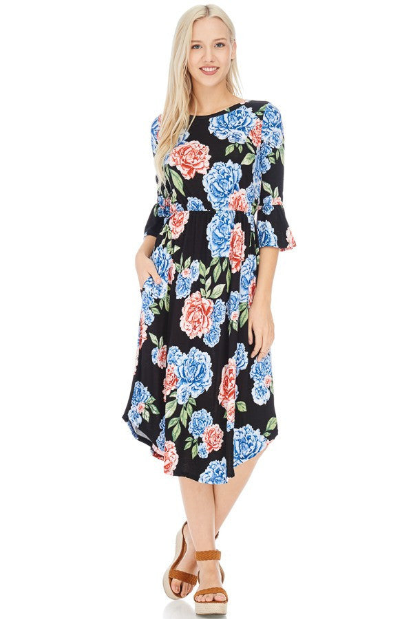 Black Floral Bell Sleeve Midi Dress