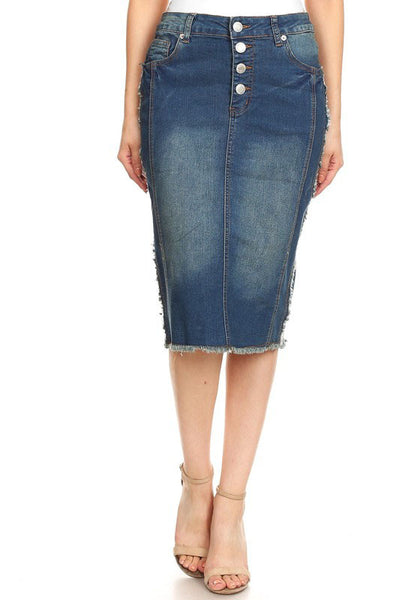 "'Florence"" Button Front Closure Denim Skirt"