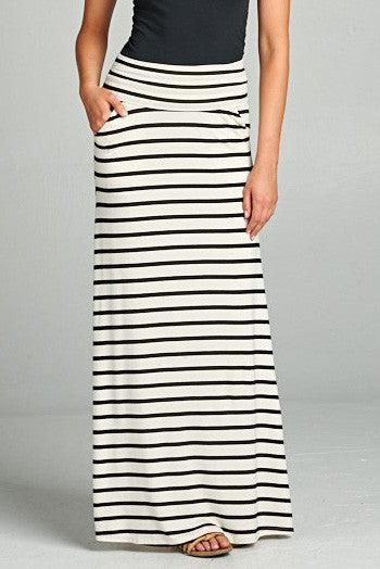Black & White Striped Fold Over Maxi