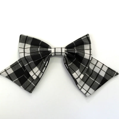 Black & White Plaid Knit Bow
